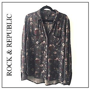 Rock & Republic Floral Shirt SZ XL